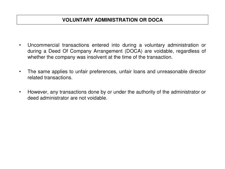 VOLUNTARY ADMINISTRATION OR DOCA
