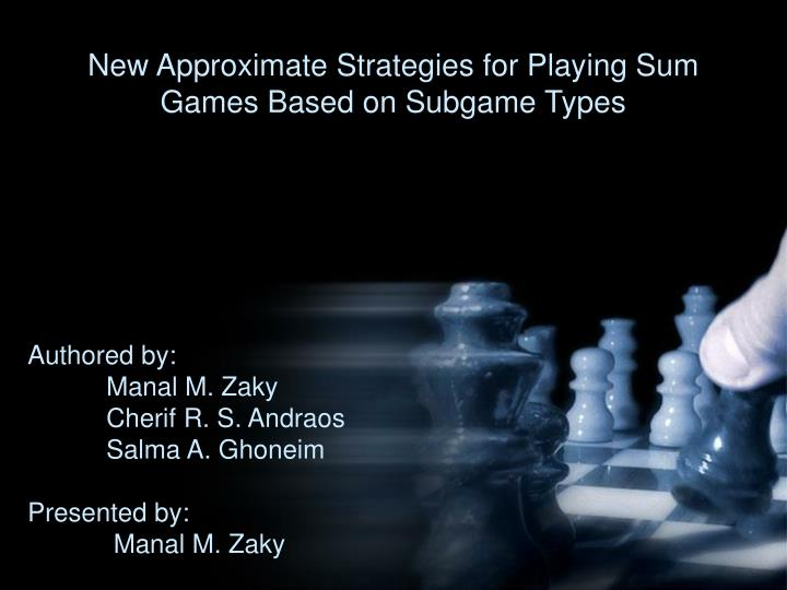 New approximate strategies for playing sum games based on subgame types