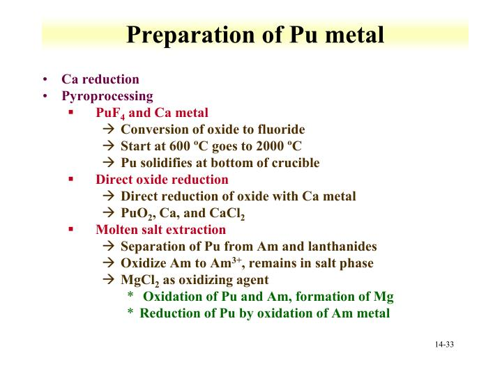 Preparation of Pu metal