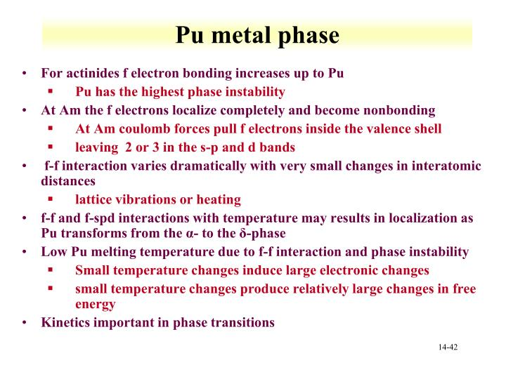Pu metal phase