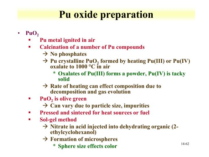 Pu oxide preparation