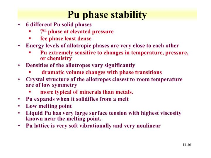 Pu phase stability