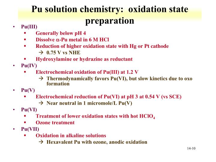 Pu solution chemistry:  oxidation state preparation