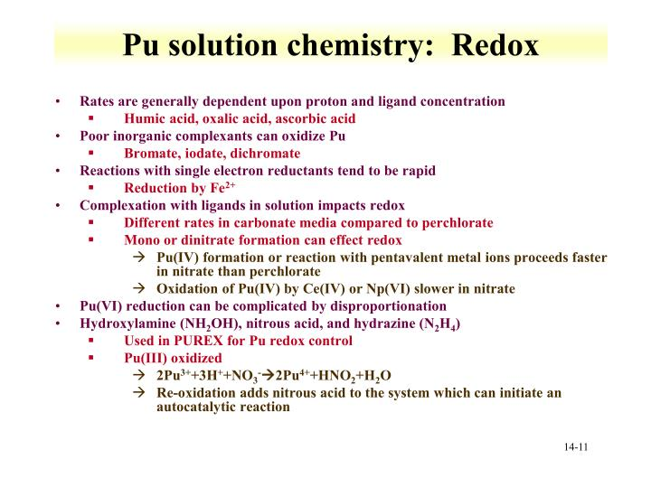 Pu solution chemistry:  Redox