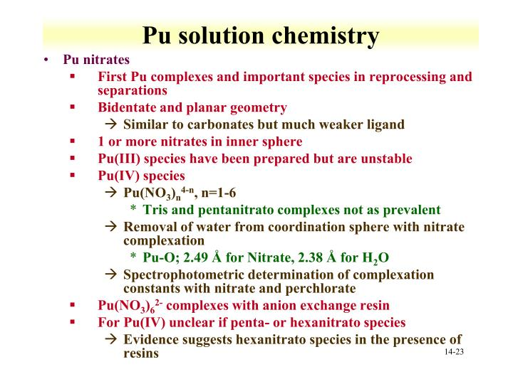 Pu solution chemistry
