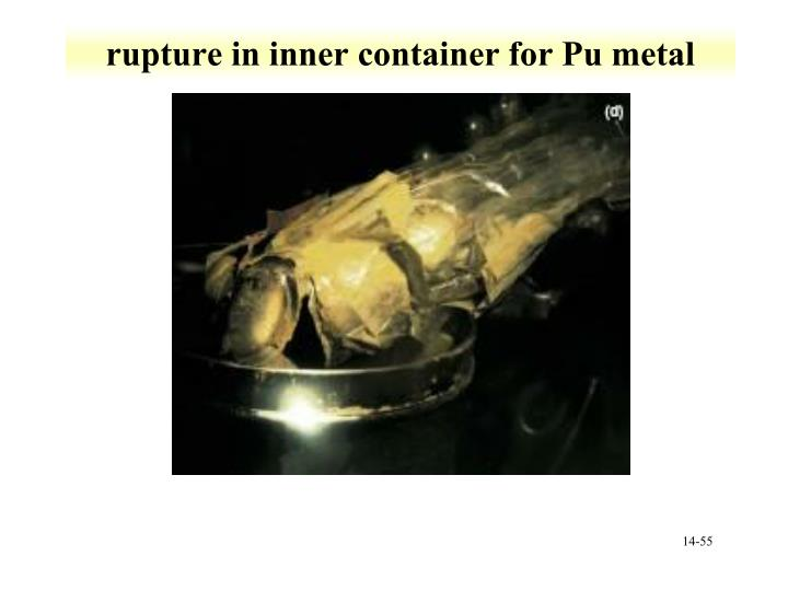 rupture in inner container for Pu metal
