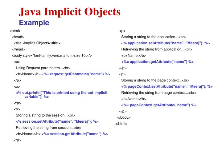 Java Implicit Objects