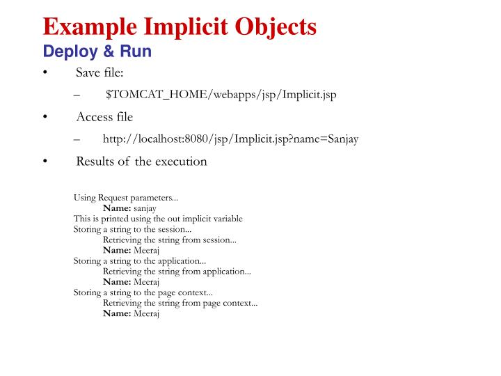 Example Implicit Objects