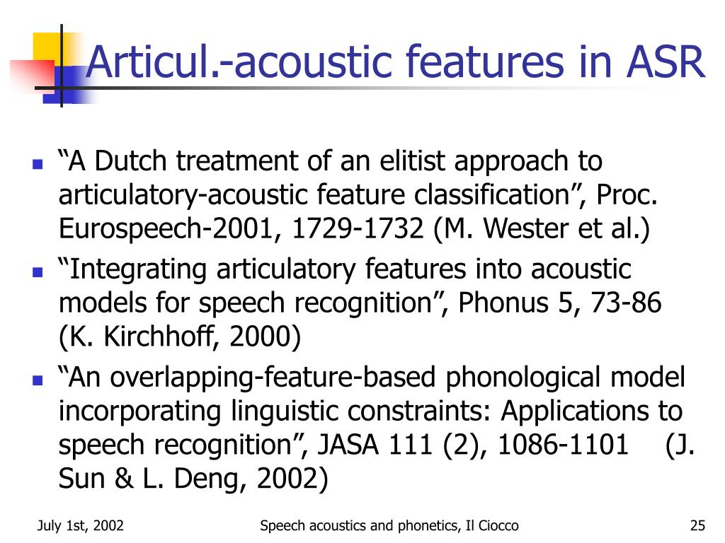 Articul.-acoustic features in ASR