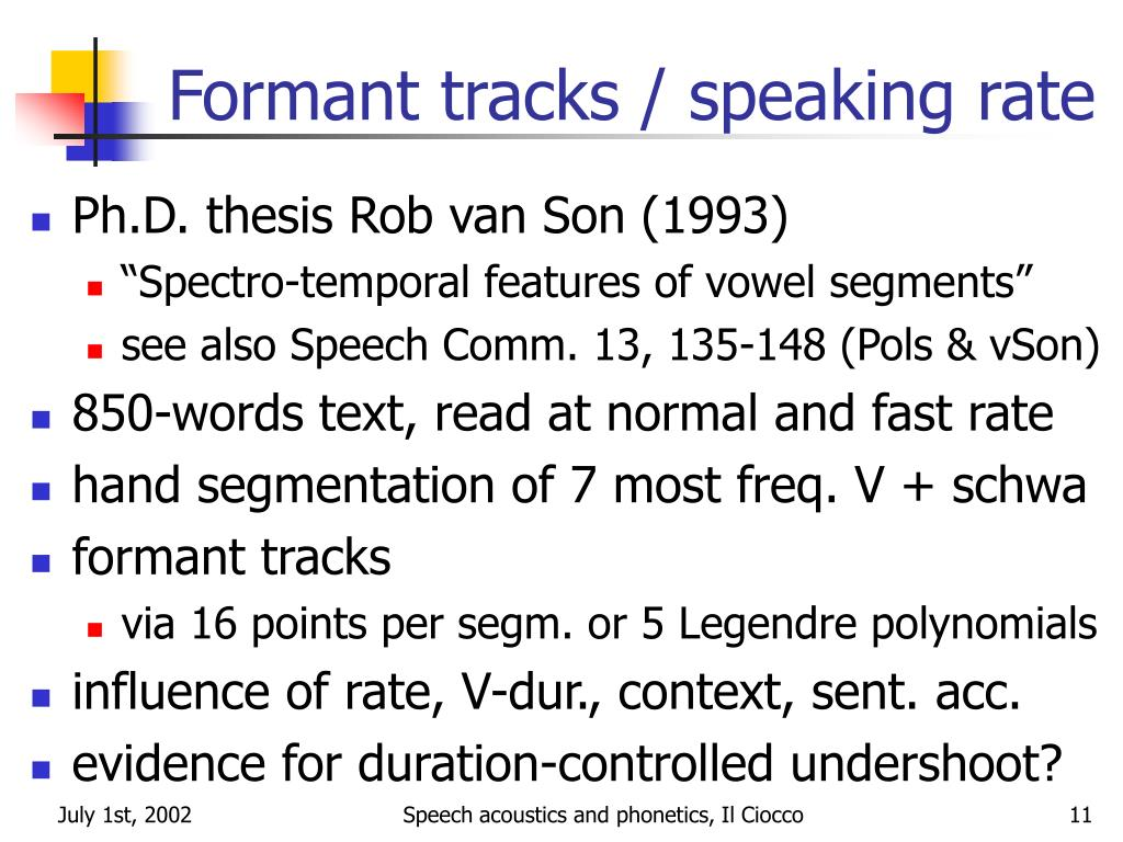 Formant tracks / speaking rate