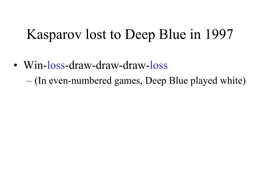 Kasparov lost to Deep Blue in 1997