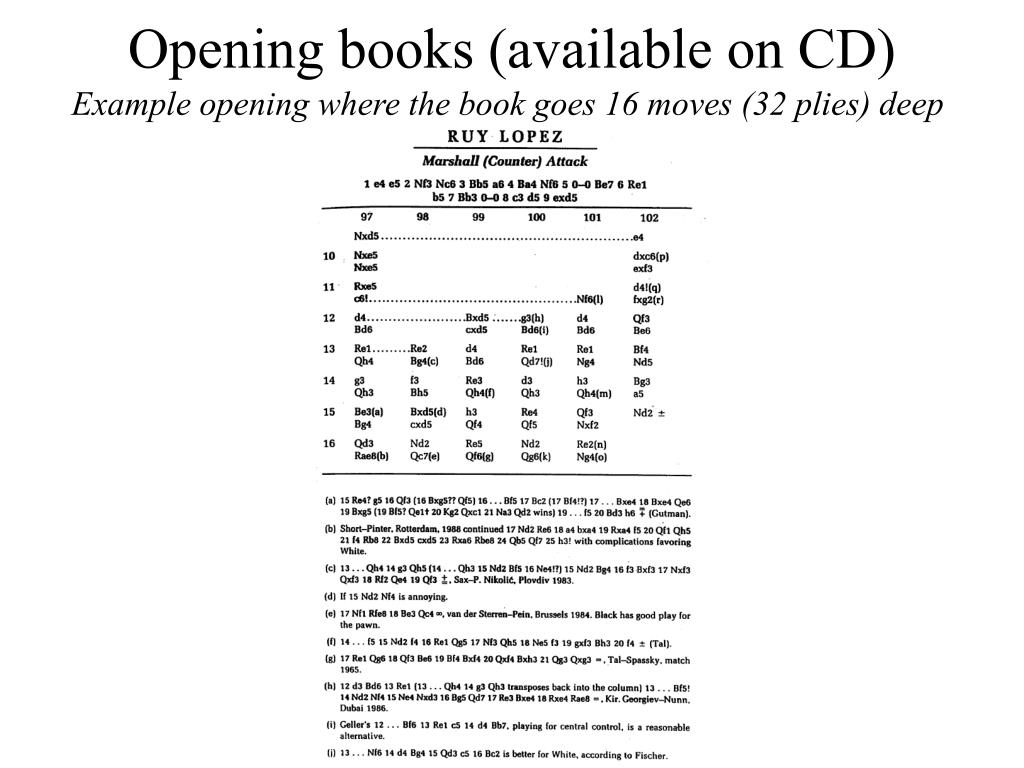 Opening books (available on CD)