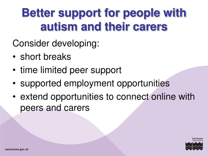 Better support for people with autism and their carers