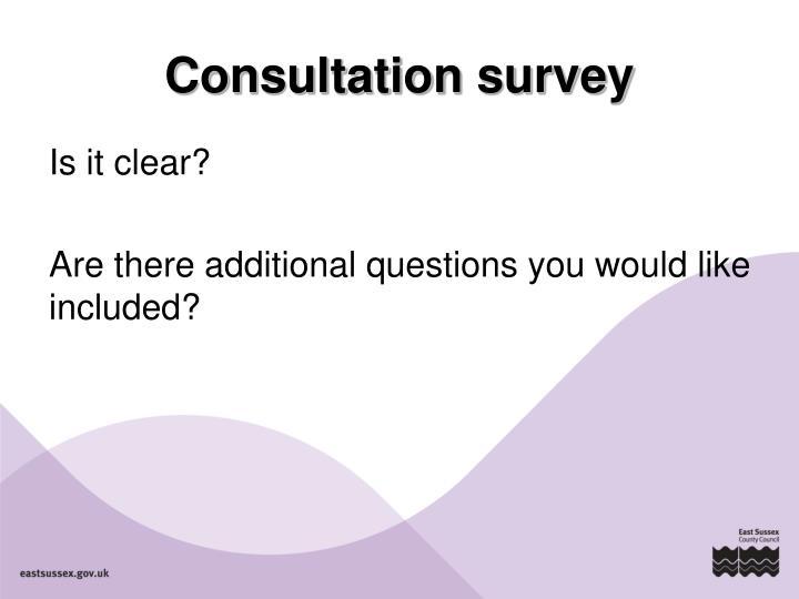 Consultation survey