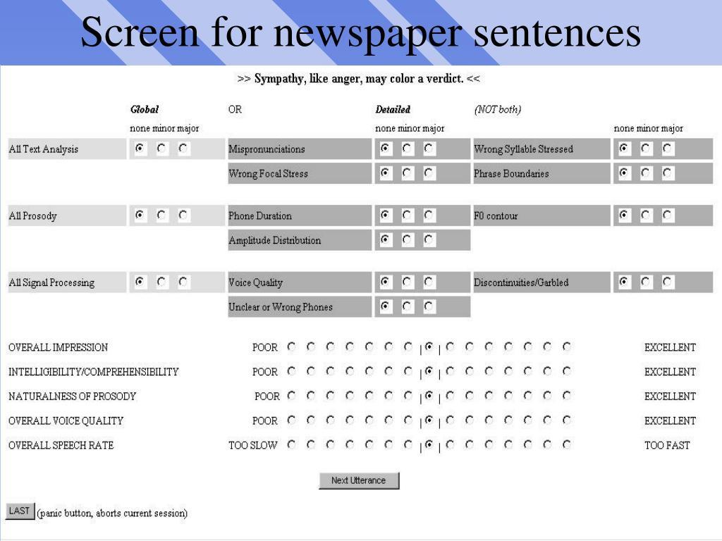 Screen for newspaper sentences