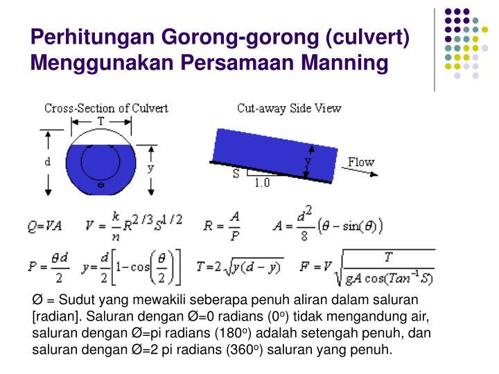 Perhitungan Gorong-gorong (culvert) Menggunakan Persamaan Manning