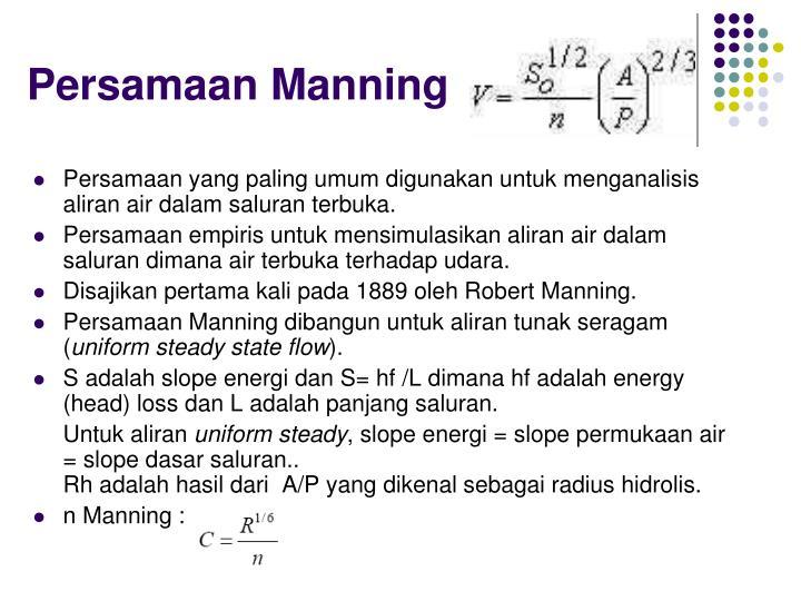Persamaan Manning