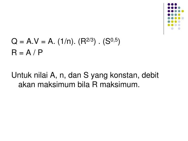 Q = A.V = A. (1/n). (R