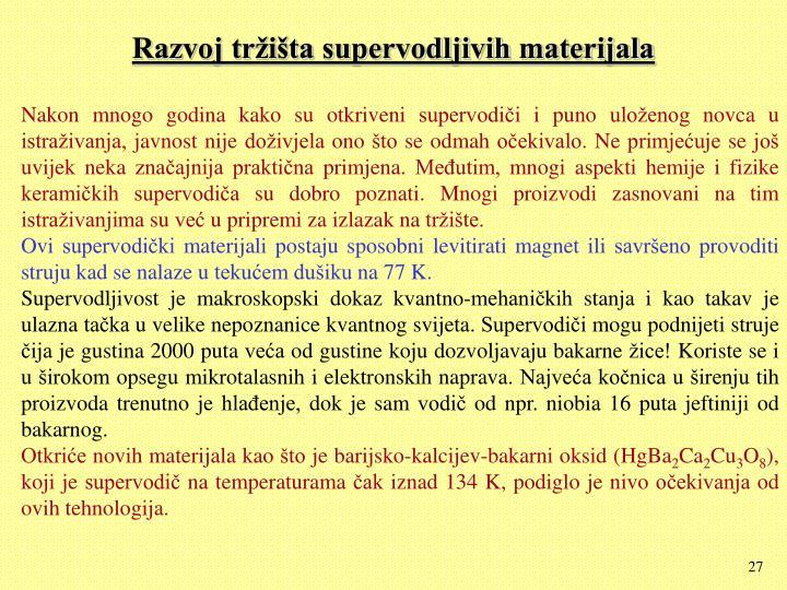 Razvoj tržišta supervodljivih materijala