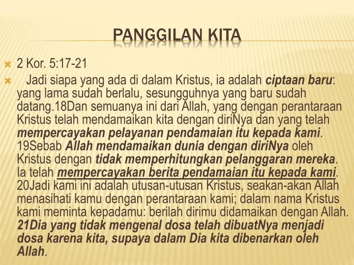 2 Kor. 5:17-21