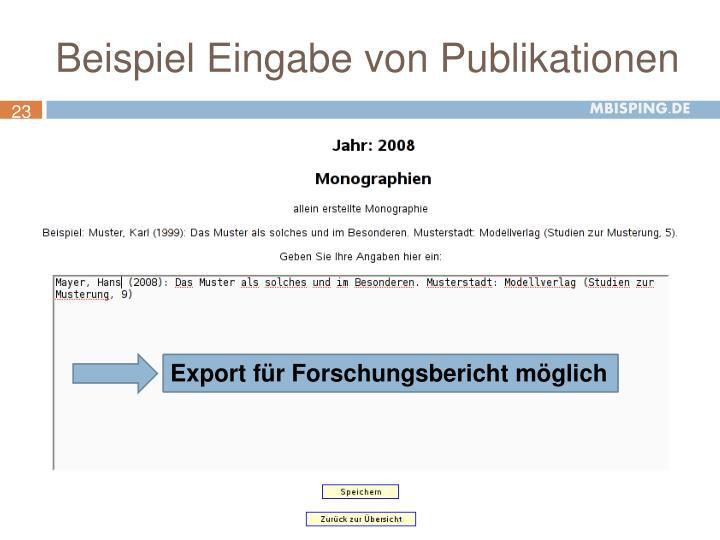 Export für Forschungsbericht möglich