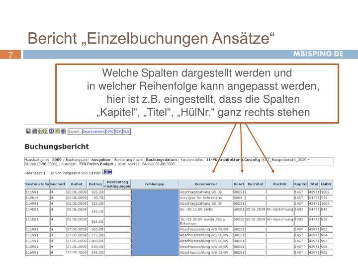 """Bericht """"Einzelbuchungen Ansätze"""""""