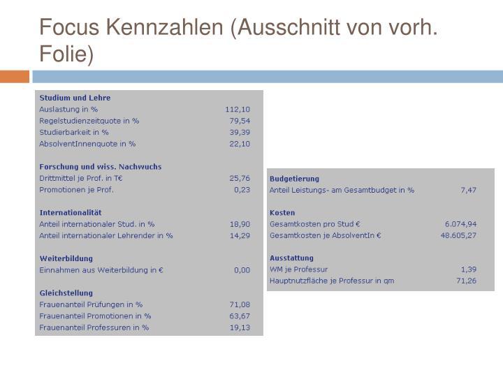 Focus Kennzahlen (Ausschnitt von vorh. Folie)