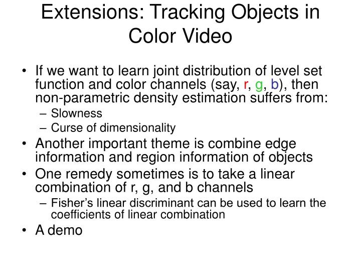 Extensions: Tracking Objects in Color Video