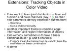 extensions tracking objects in color video