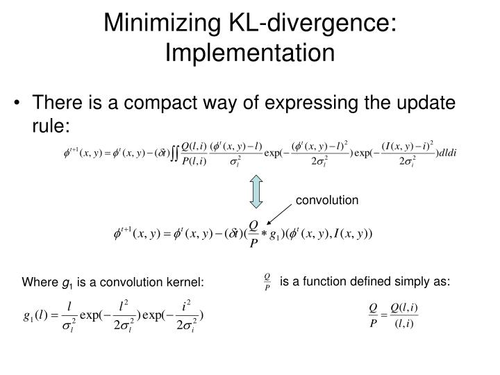 Minimizing KL-divergence: Implementation