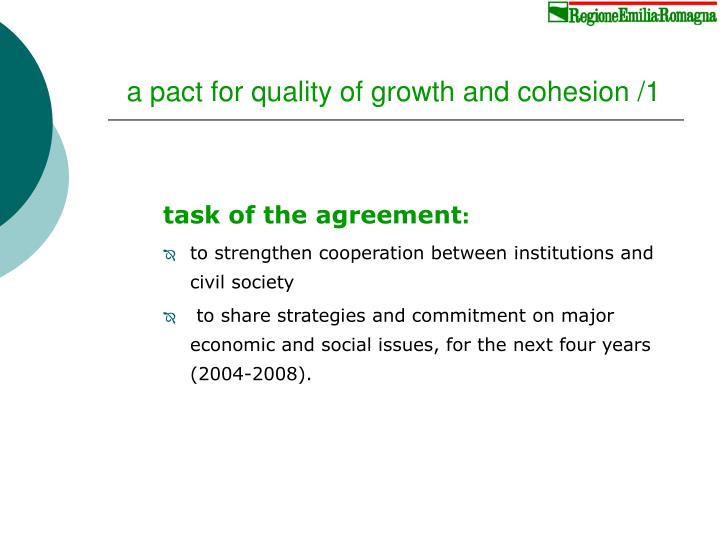 a pact for quality of growth and cohesion /1