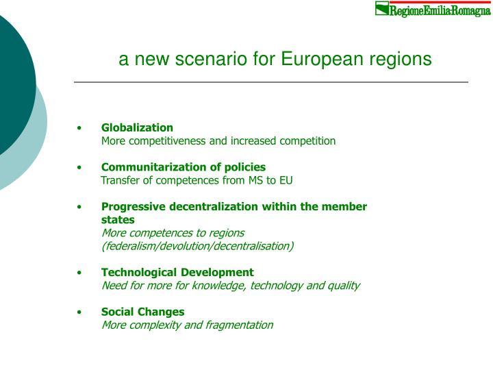 a new scenario for European regions