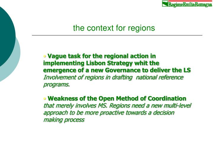 The context for regions