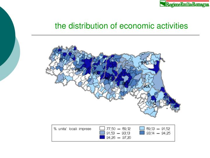 the distribution of economic activities