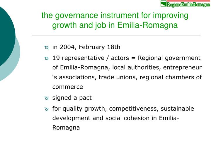 the governance instrument for improving growth and job in Emilia-Romagna