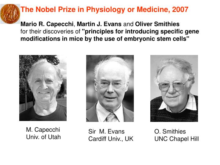 The Nobel Prize in Physiology or Medicine, 2007