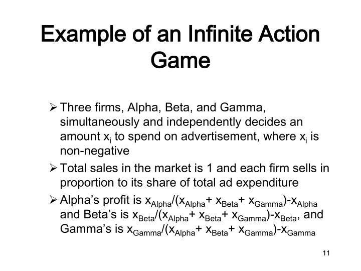 Example of an Infinite Action Game