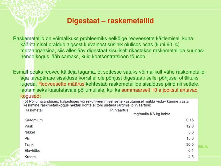 Digestaat – raskemetallid