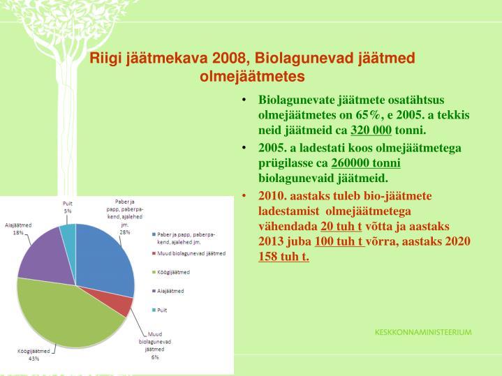Riigi jäätmekava 2008, Biolagunevad jäätmed olmejäätmetes