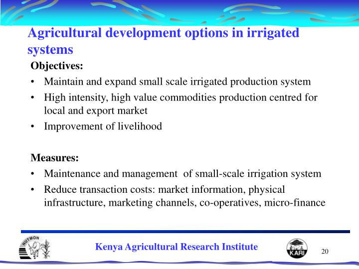 Agricultural development options in irrigated systems