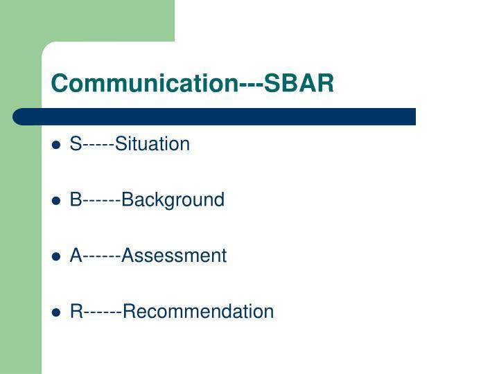 Communication---SBAR