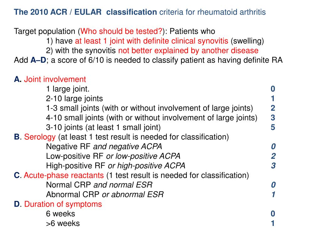 The 2010 ACR / EULAR  classification