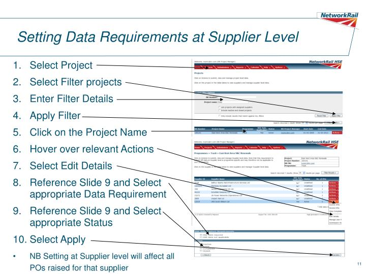 Setting Data Requirements at Supplier Level