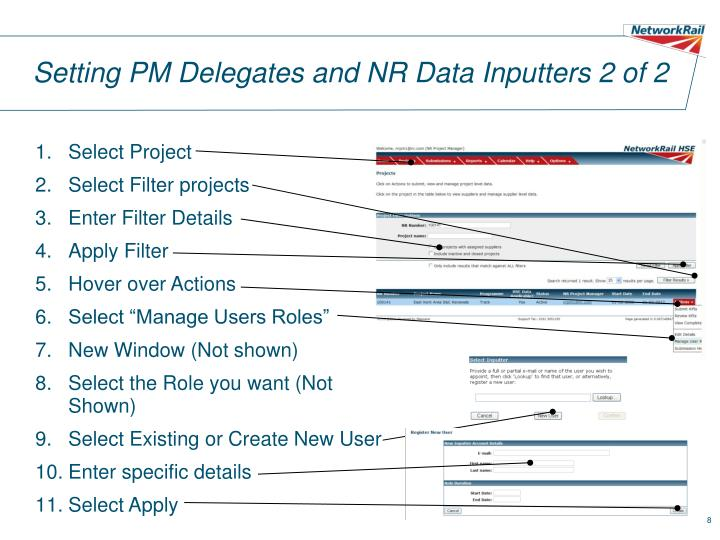 Setting PM Delegates and NR Data Inputters 2 of 2