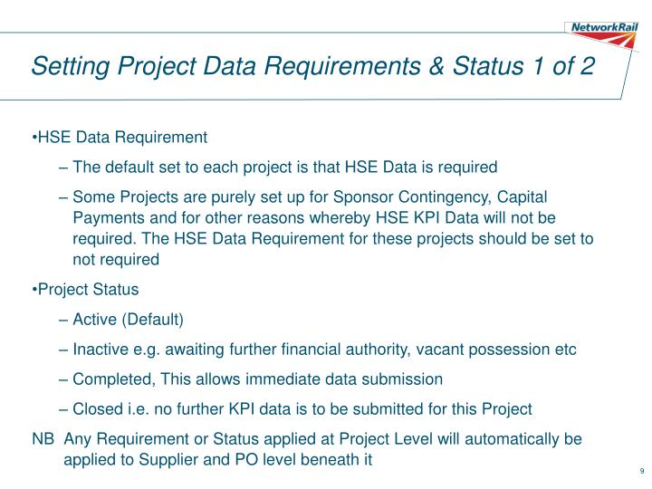 Setting Project Data Requirements & Status 1 of 2