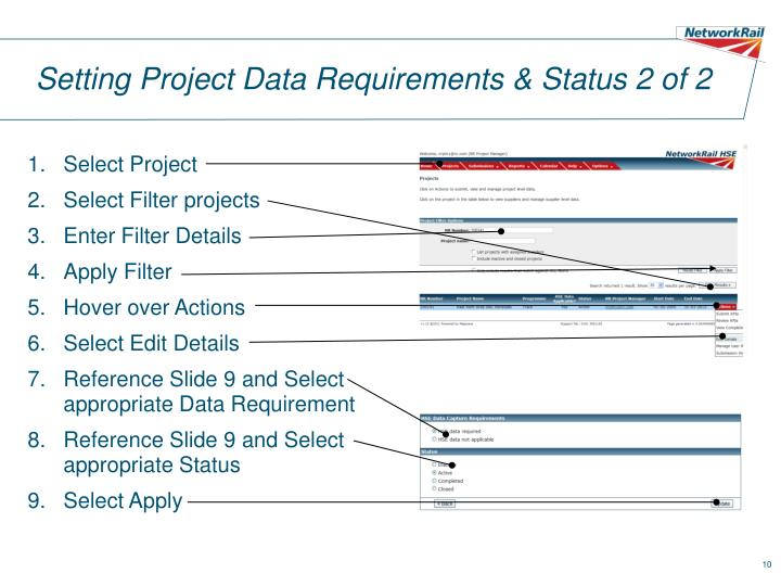 Setting Project Data Requirements & Status 2 of 2
