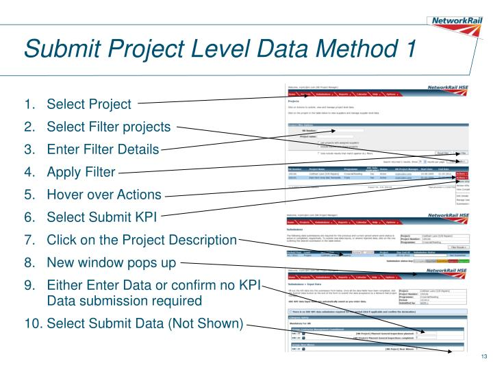 Submit Project Level Data Method 1