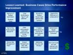 lesson learned business cases drive performance improvement