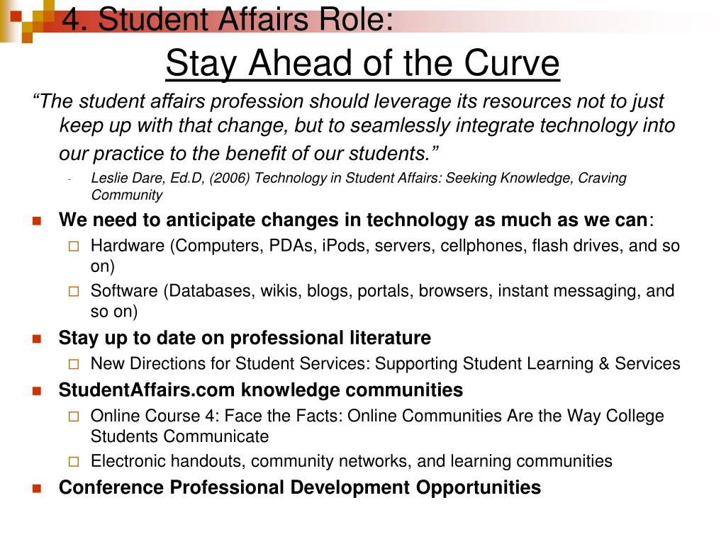 4. Student Affairs Role: