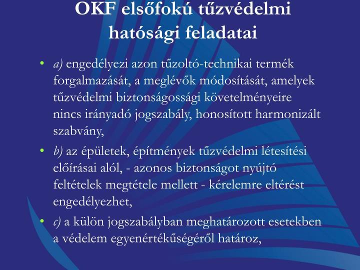 OKF elsfok tzvdelmi hatsgi feladatai